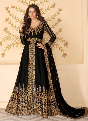 Black and Gold Embroidered Pant Style Anarkali