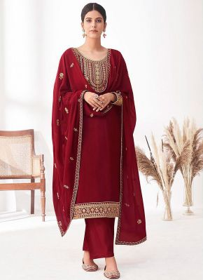 Red and Gold Embroidered Pant Style Suit