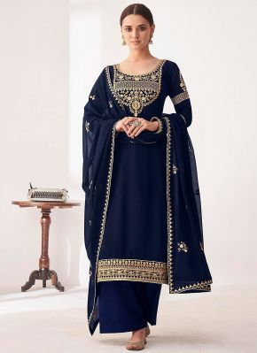 Blue and Gold Embroidered Pant Style Suit