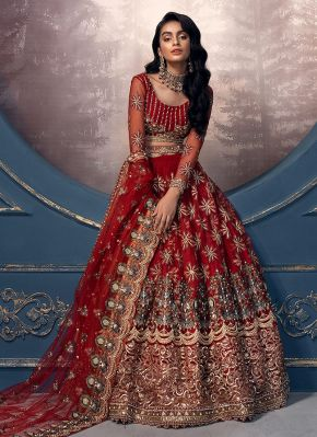 Brick Red and Gold Embroidered Pakistani Wedding Lehenga