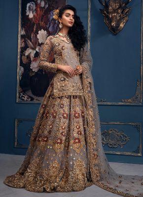 Grey Floral Embroidered Pakistani Wedding Lehenga