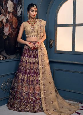 Purple and Gold Embroidered Pakistani Wedding Lehenga