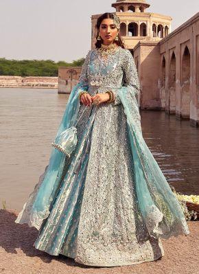 Aasmani Heavy Embroidered Pakistani Lehenga Suit