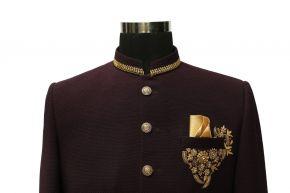 Burgungy Indo Western Mid Thai Length Sherwani Suit