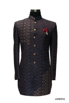 Sun Shade Purple Jacard Indo Western Sherwani Suit
