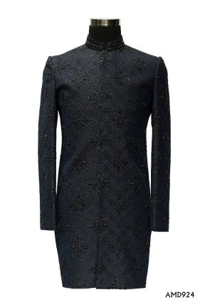 Navy Blue All Over Embroidery With Hand Work Mid Thai Length Sherwani Suit