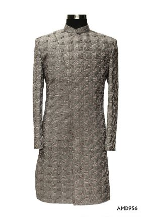 Grey Indo Western Asymmetric All Over Embroidery Sherwani Suit