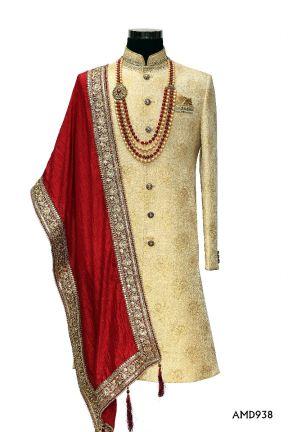 Begie Gold Jacard Sherwani With Hand Work   Sherwani Suit