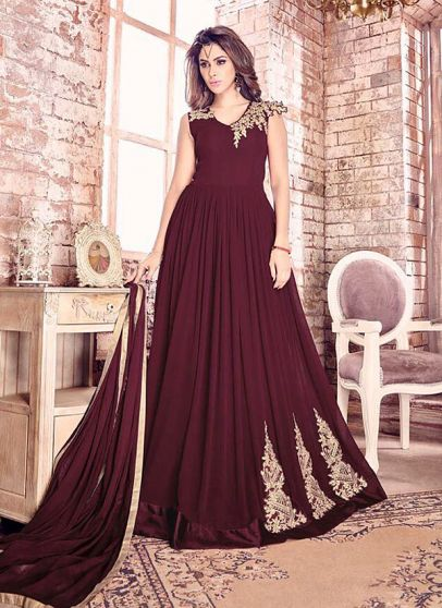 Burgundy and Gold Embroidered Anarkali