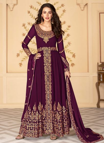 Purple and Gold Embroidered Pant Style Anarkali