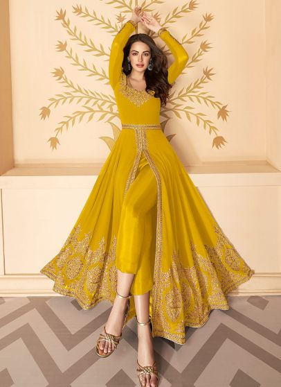 Yellow and Gold Embroidered Pant Style Anarkali