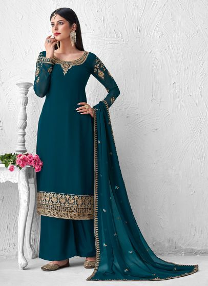 Teal and Gold Embroidered Palazzo Suit
