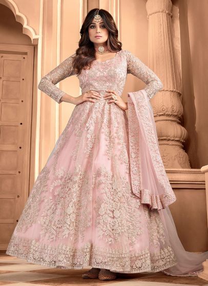 Peachy Pink Embroidered Anarkali