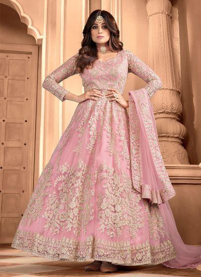 Pink Embroidered Anarkali
