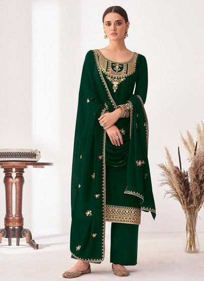 Green and Gold Embroidered Pant Style Suit