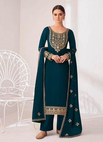 Teal and Gold Embroidered Pant Style Suit