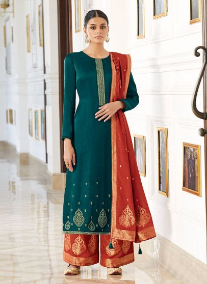 Teal and Orange Embroidered Pant Style Suit