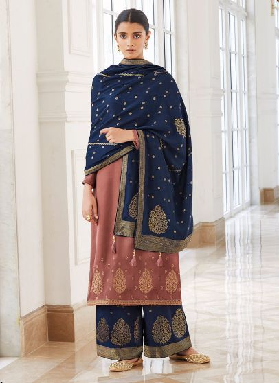Pink and Blue Embroidered Pant Style Suit
