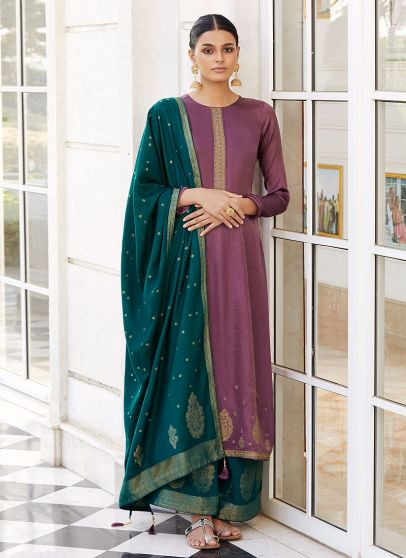 Purple and Teal Embroidered Pant Style Suit