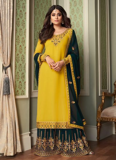 Yellow and Gold Embroidered Palazzo Suit