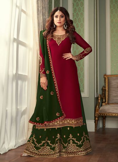 Red and Green Embroidered Palazzo Suit