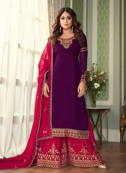 Purple and Pink Embroidered Palazzo Suit