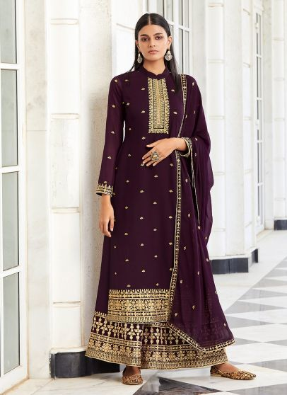 Purple and Gold Embroidered Palazzo Suit