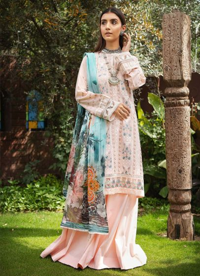 Lawn 21 Collection Embroidered Pakistani Palazzo Suit