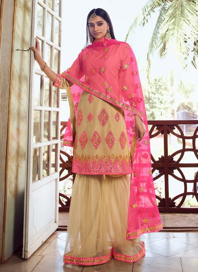 Light Green and Pink Embroidered Gharara Suit