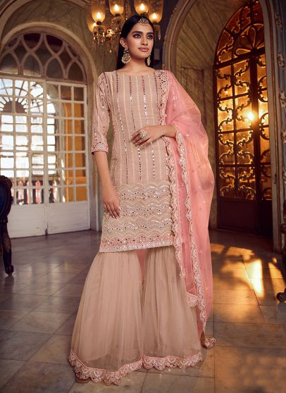 Peach and Pink Embroidered Gharara Suit