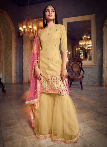 Yellow and Pink Embroidered Gharara Suit