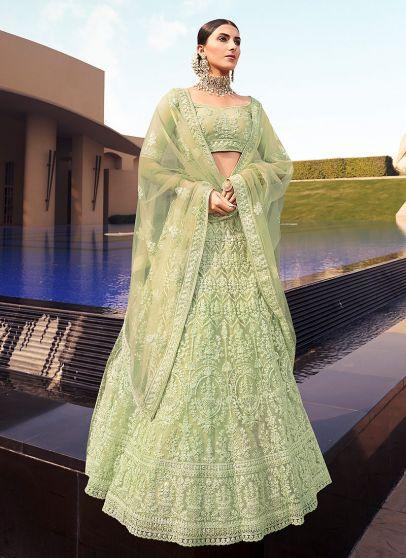 Green Embroidered Net Lehenga