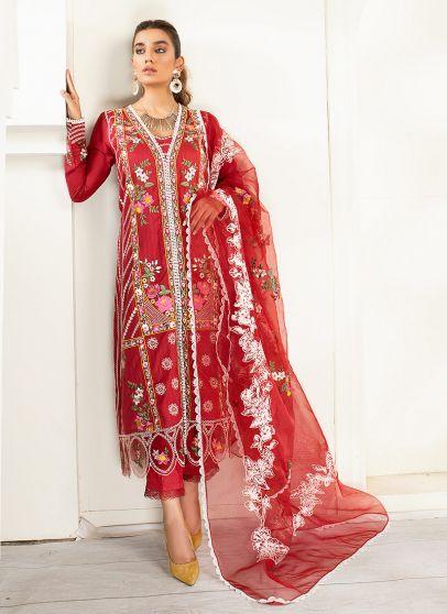 Garnet Embroidered Pakistani Salwar Kameez