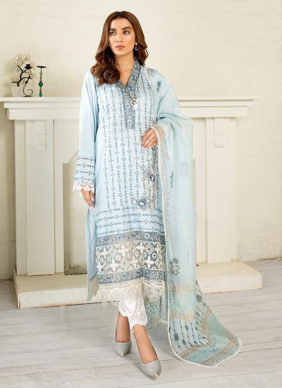 Azure Embroidered Pakistani Salwar Kameez