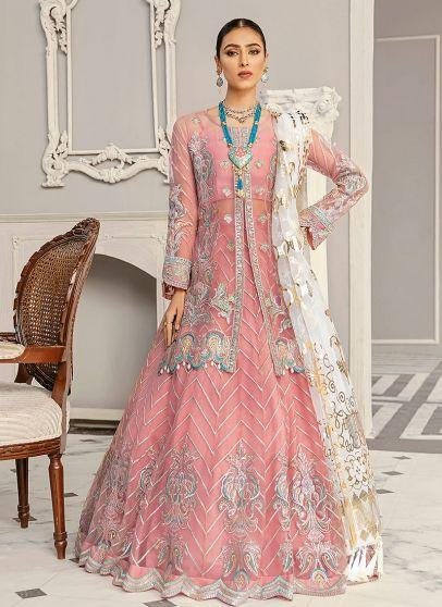 Violet Embroidered Pakistani Lehenga