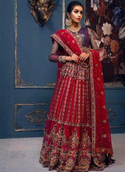 Brick Red embroidered Pakistani Wedding Lehenga