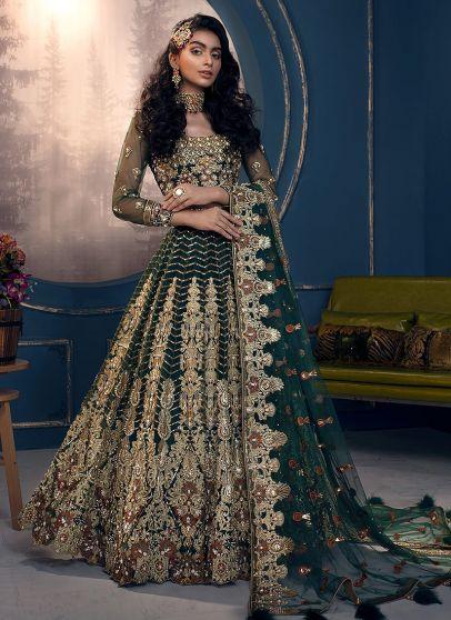 Dark Green Embroidered Pakistani Wedding Lehenga