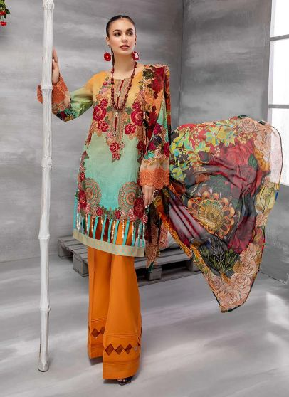 Print Glamour Embroidered Pakistani Salwar Kameez