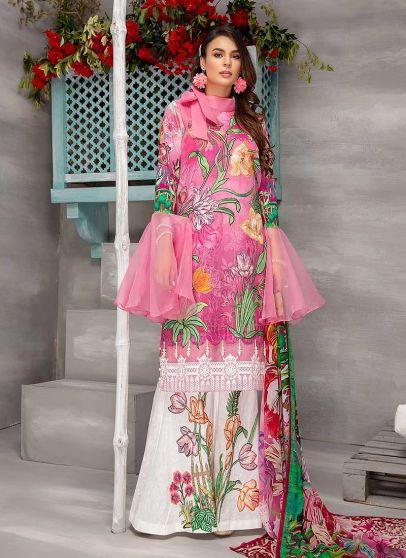 Pretty Pink Embroidered Pakistani Palazzo Suit
