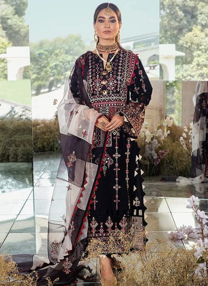 Smokey Onyx Embroidered Pakistani Salwar Kameez