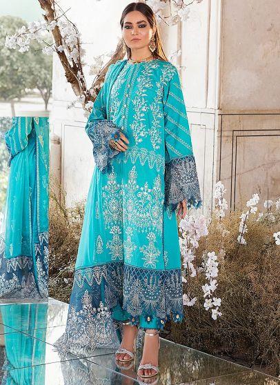 Teal Swan Embroidered Pakistani Salwar Kameez