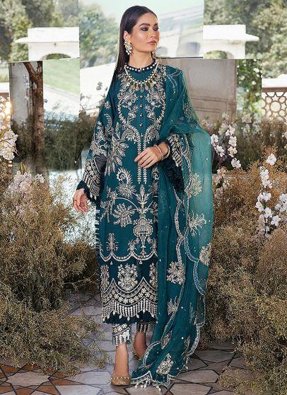 Cobalt Sky Embroidered Pakistani Salwar Kameez