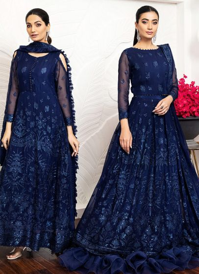 Glace Bleu Embroidered Pakistani/ Anarkali/ Lehenga