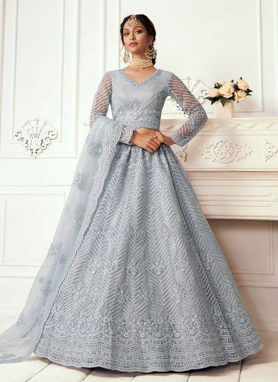 Blue Grey Embroidered Lehenga