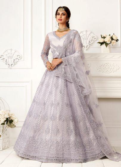 Lavender Embroidered Lehenga