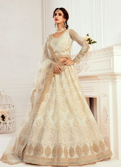 Ivory and Gold Embroidered Lehenga