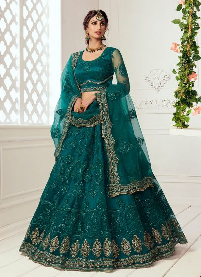Teal Green and Gold Embroidered Lehenga
