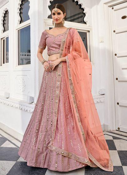 Rose Pink Heavy Embroidered Lehenga