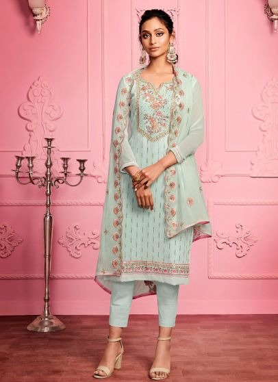 Sky Blue Embroidered Pant Style Suit