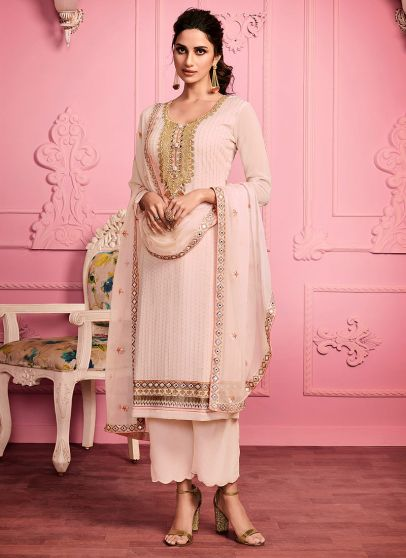 Light Peach Embroidered Pant Style Suit